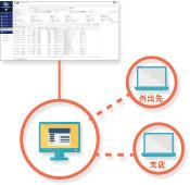 遠隔地や持ち出し中のPCのセキュリティ状況も一括管理・把握が出来て安心できる。